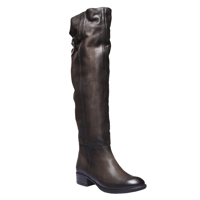 Skórzane kozaki bata, brązowy, 596-4107 - 13