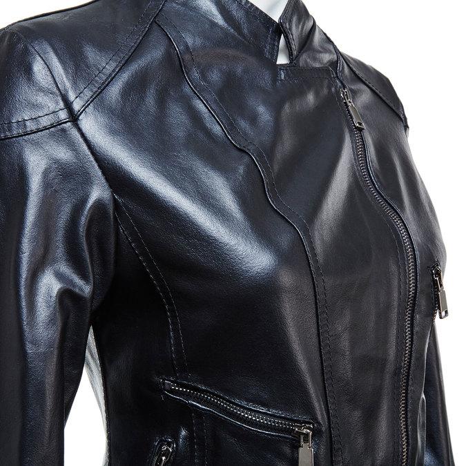 Skórzana kurtka damska zzamkami bata, czarny, 974-6162 - 16