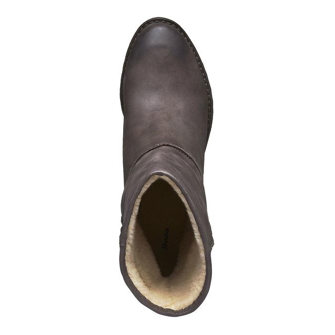 Skórzane kozaki z kożuszkiem bata, czarny, 696-6109 - 19
