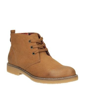 Botki damskie zkolorową wyściółką bata, brązowy, 599-4605 - 13
