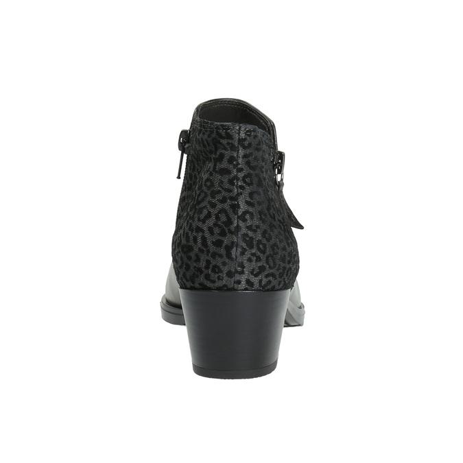 Botki ze skóry na niskim obcasie bata, czarny, 696-6613 - 17
