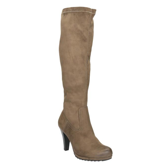 Kozaki damskie na obcasie bata, beżowy, 799-2602 - 13