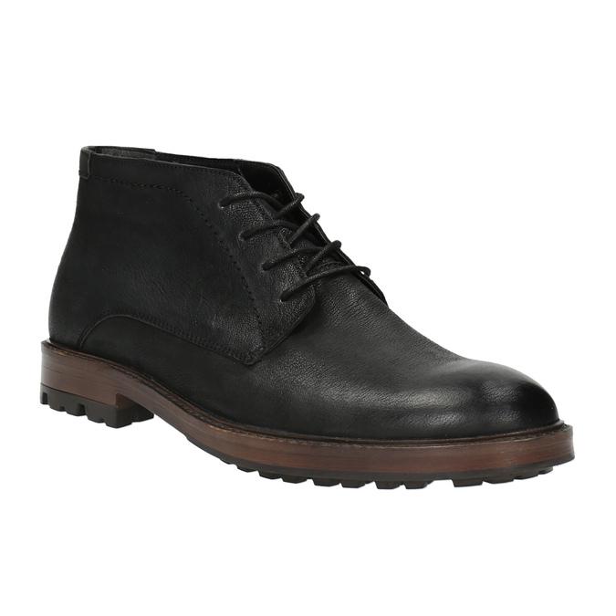 Skórzane buty męskie za kostkę bata, czarny, 826-6642 - 13