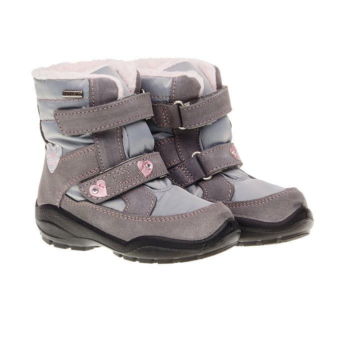 Skórzane buty zimowe mini-b, szary, 293-2152 - 26