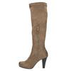 Kozaki damskie na obcasie bata, beżowy, 799-2602 - 19