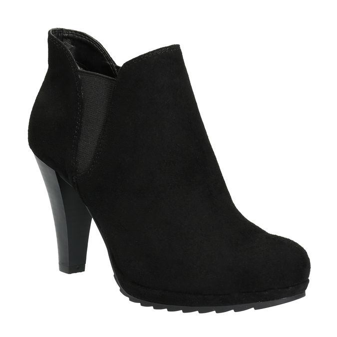 Botki damskie na obcasie, z elastycznymi wstawkami po bokach bata, czarny, 799-6601 - 13