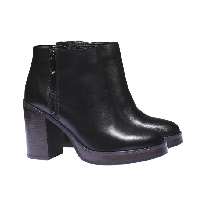 Skórzane buty do kostki na obcasie bata, czarny, 794-6584 - 26