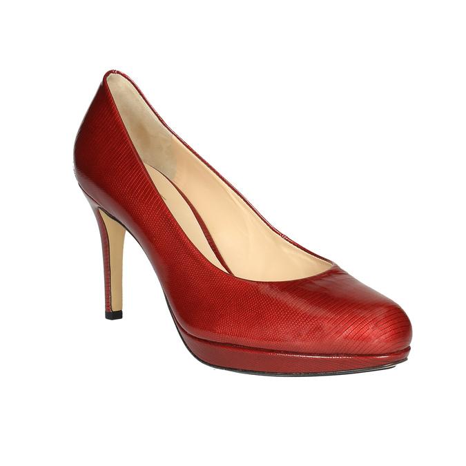 Damskie skórzane czółenka hogl, czerwony, 728-5003 - 13