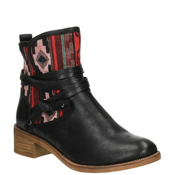 Botki z deseniem etno bata, czarny, 599-6604 - 13