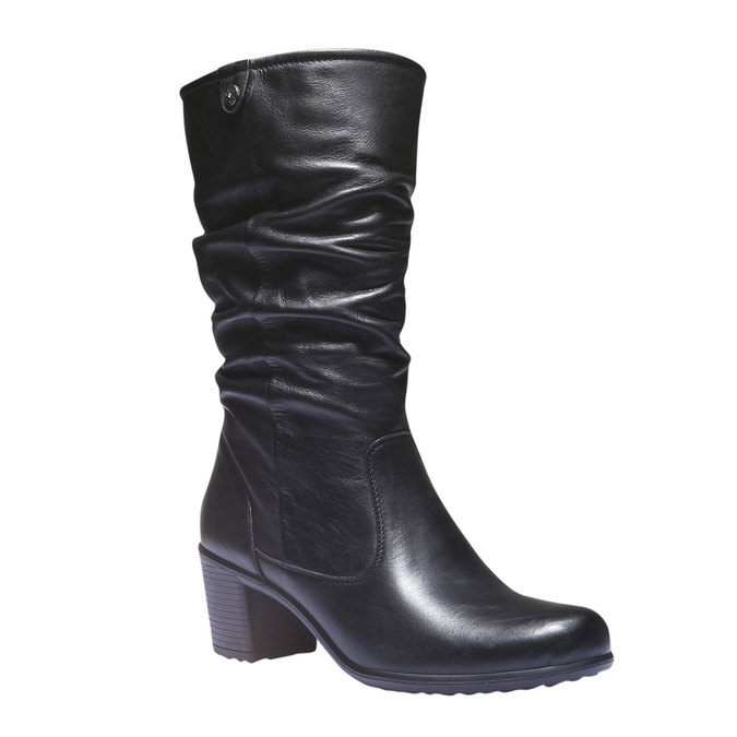 Skórzane kozaki bata, czarny, 694-6112 - 13