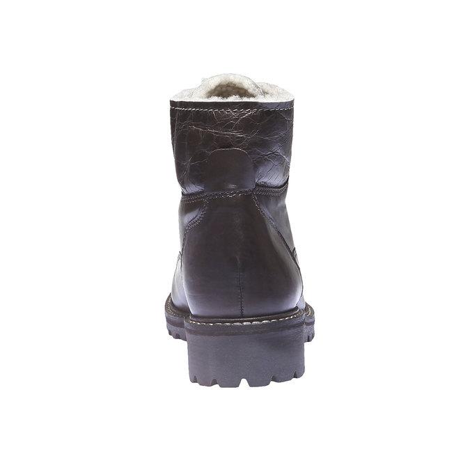 Skórzane sznurowane buty z kożuszkiem bata, brązowy, 594-4109 - 17