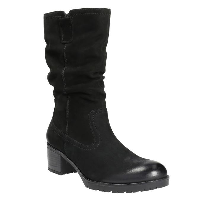 Skórzane botki bata, czarny, 696-6101 - 13