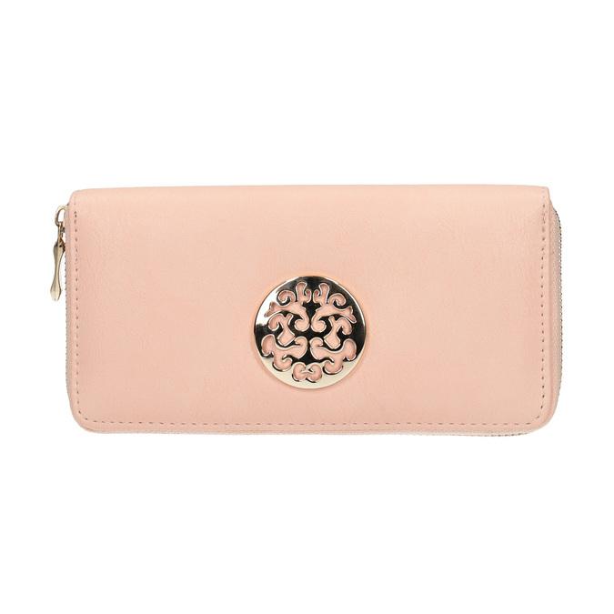 Portfel damski zmetalową aplikacją bata, różowy, 941-5150 - 26