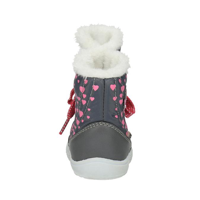 Zimowe buty dziecięce zserduszkami bubblegummer, szary, 199-2600 - 17