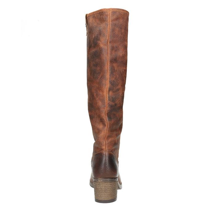 Wysokie skórzane kozaki w kowbojskim stylu bata, brązowy, 696-3608 - 17