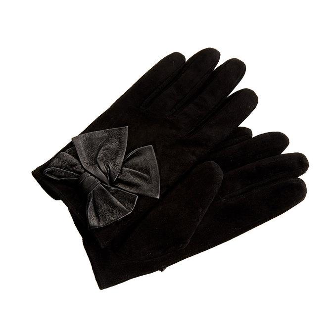 Skórzane damskie rękawiczki w pudełku upominkowym bata, czarny, 903-6104 - 13