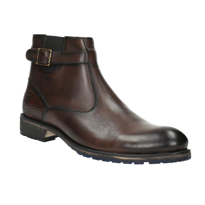 Męskie botki ze sprzączką bata, brązowy, 894-4652 - 13