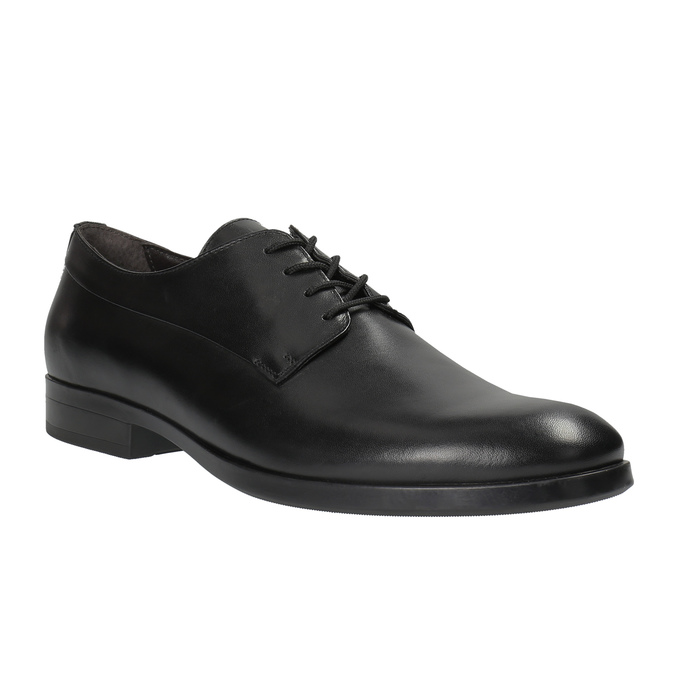 Czarne półbuty męskie ze skóry bata, czarny, 824-6711 - 13