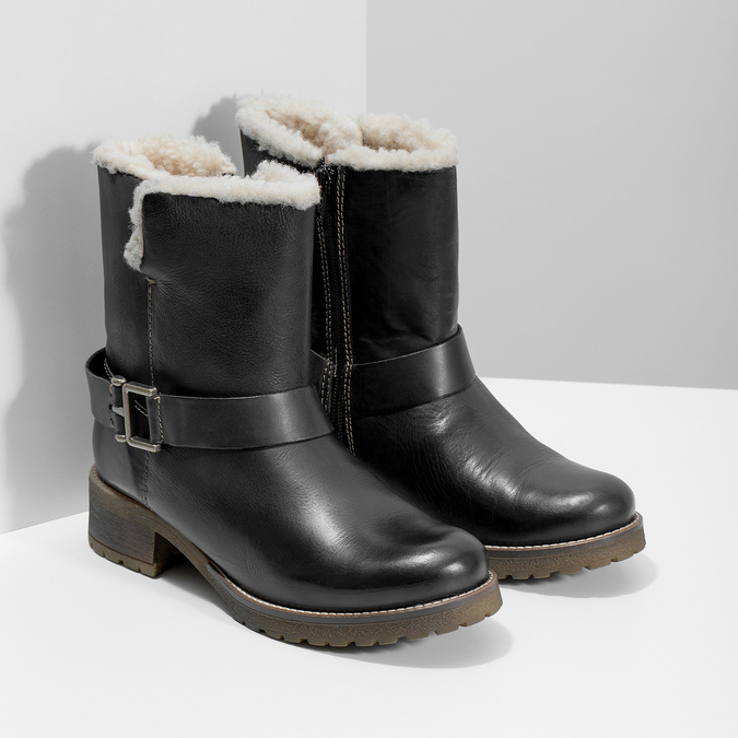 Damskie buty z futerkiem bata, czarny, 594-6609 - 26