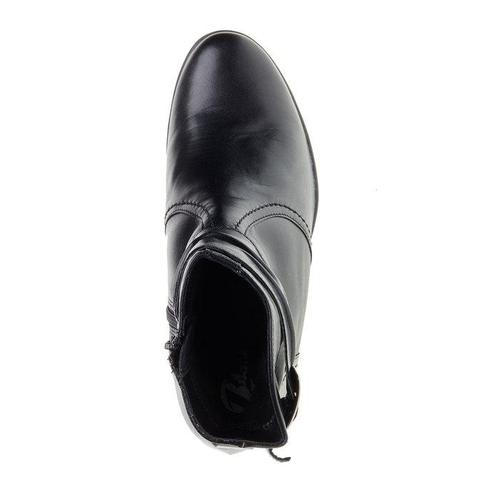 Botki ze skóry na ściętym obcasie bata, czarny, 694-6130 - 19