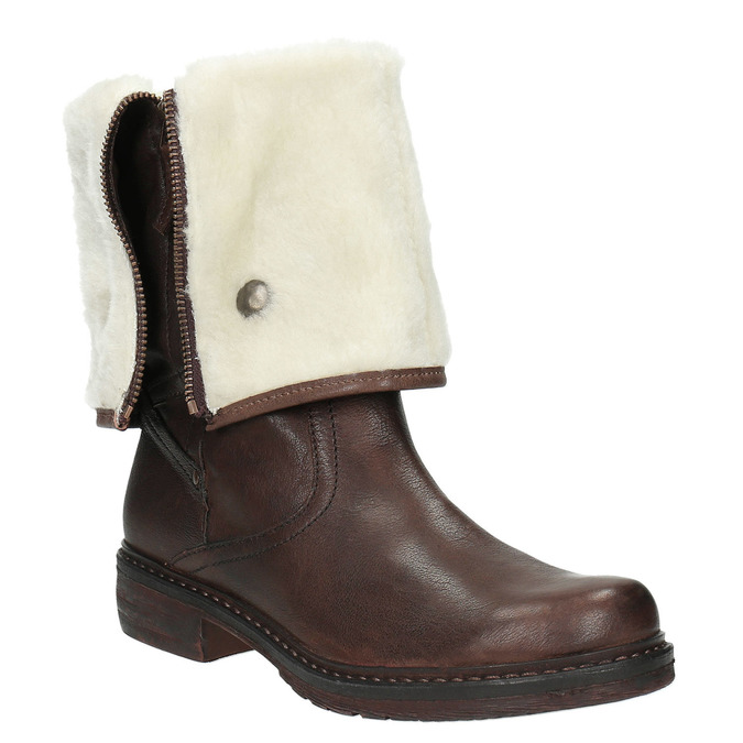 Skórzane buty zimowe zfuterkiem manas, brązowy, 596-4600 - 13