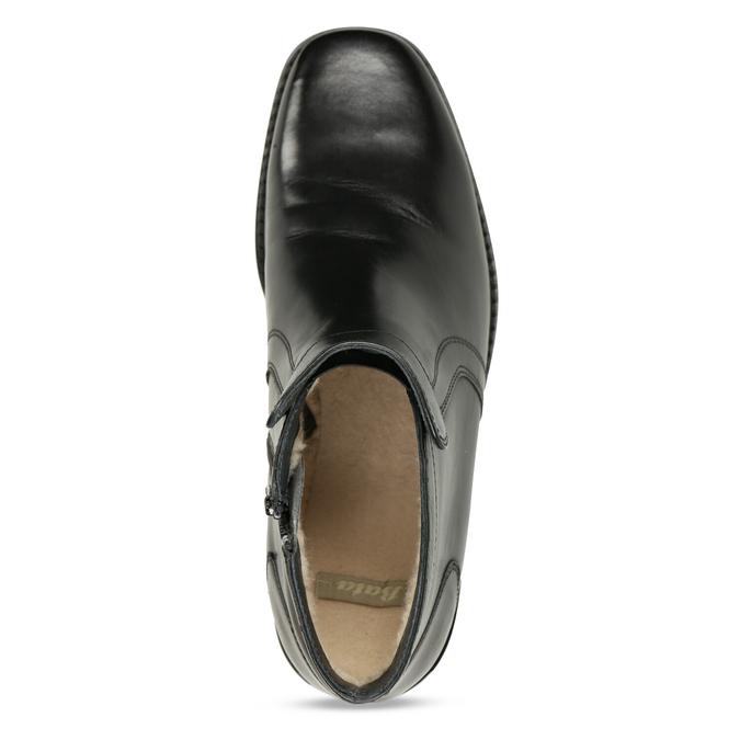 Skórzane ocieplane buty za kostkę bata, czarny, 894-6641 - 17