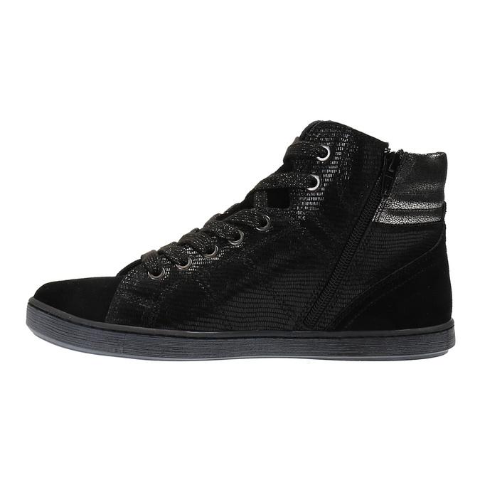 Skórzane buty sportowe do kostki ze srebrnymi refleksami bata, czarny, 596-6613 - 26