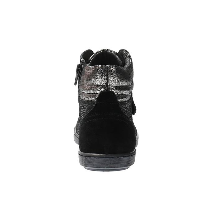 Skórzane buty sportowe do kostki ze srebrnymi refleksami bata, czarny, 596-6613 - 17