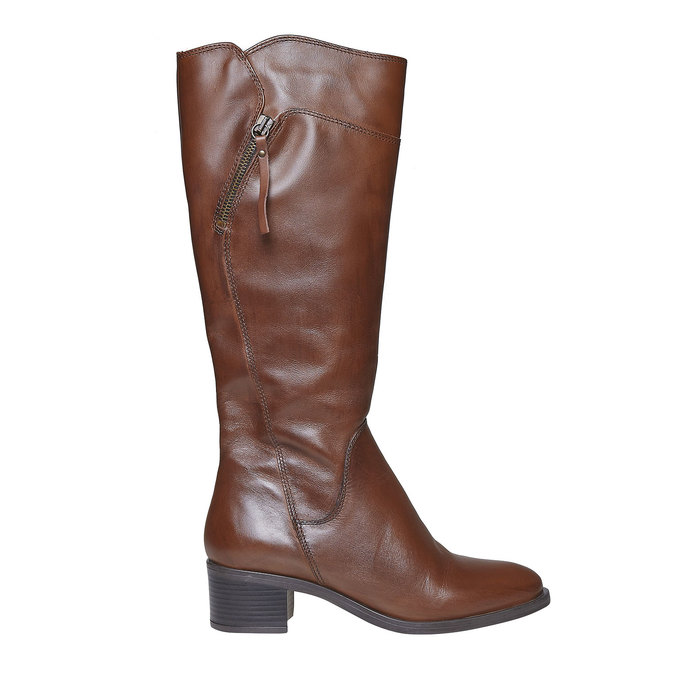Damskie skórzane kozaki bata, brązowy, 694-4114 - 15