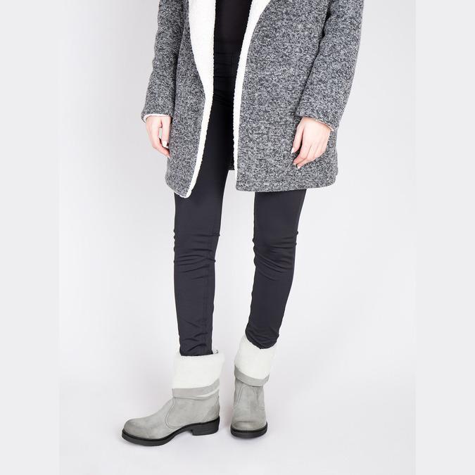 Skórzane buty zimowe zfuterkiem manas, szary, 596-2601 - 18