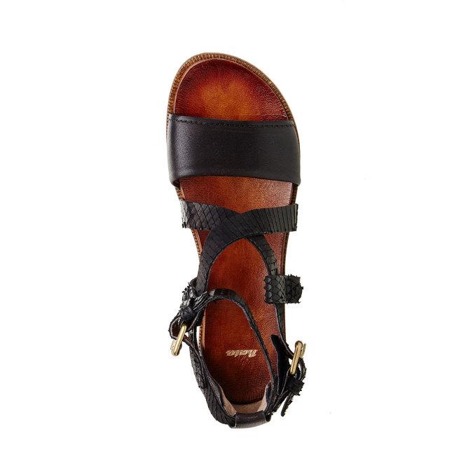 Damskie skórzane sandały bata, czarny, 566-6103 - 19