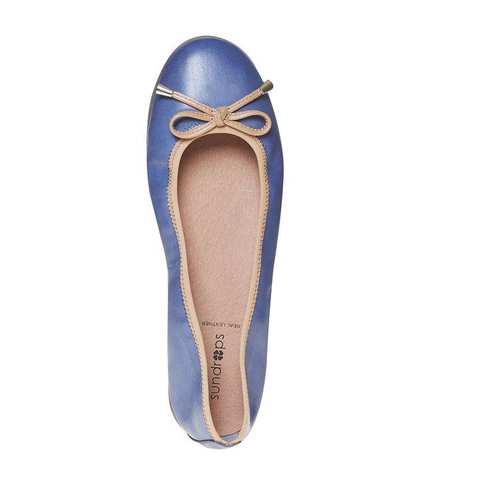 Damskie skórzane baleriny bata, niebieski, 524-9485 - 19