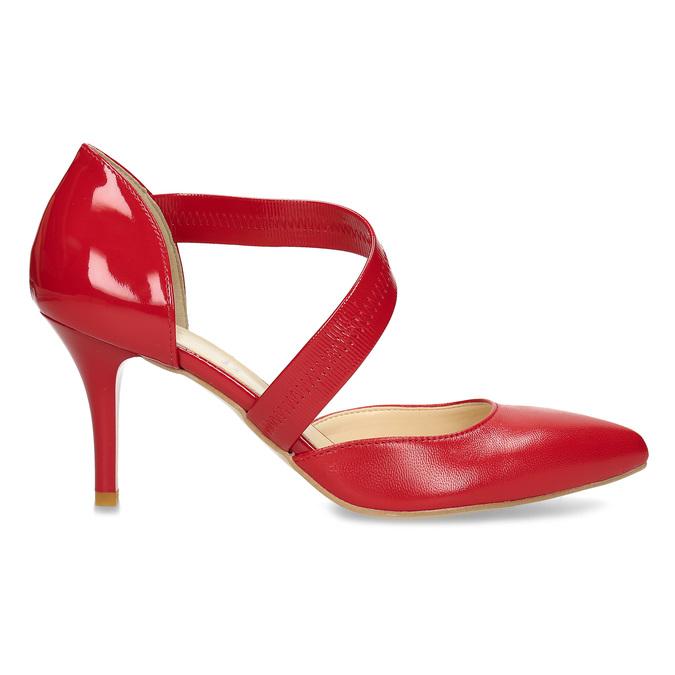 Skórzane czółenka z paskiem bata, czerwony, 724-5904 - 19