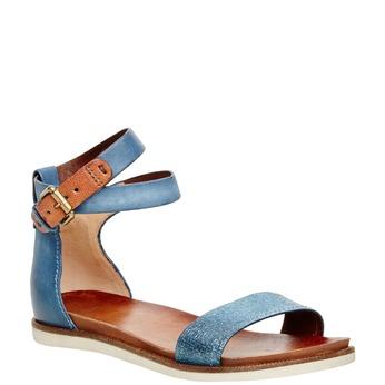 Damskie skórzane sandały z paskiem wokół kostki bata, niebieski, 566-9102 - 13