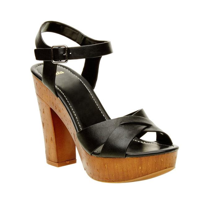 Sandały na masywnym obcasie bata, czarny, 761-6500 - 13