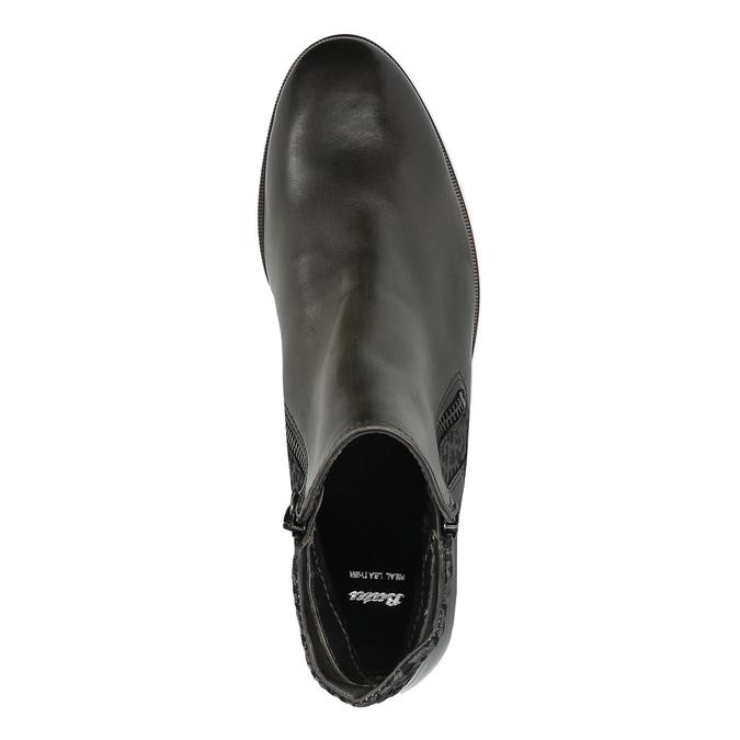 Buty za kostkę ze skóry z suwakami bata, czarny, 596-6605 - 19
