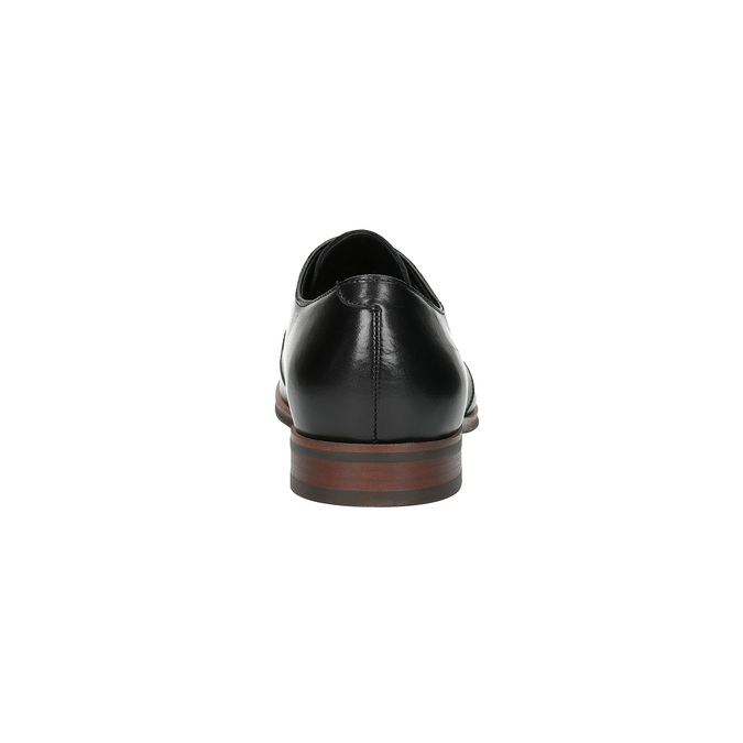 Czarne skórzane półbuty z podeszwą w swobodnym stylu bata, czarny, 824-6679 - 17