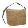 Skórzana torebka z przeszyciami bata, brązowy, 963-3130 - 13