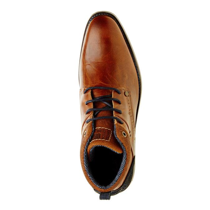 Nieformalne skórzane półbuty za kostkę bata, brązowy, 894-4622 - 19