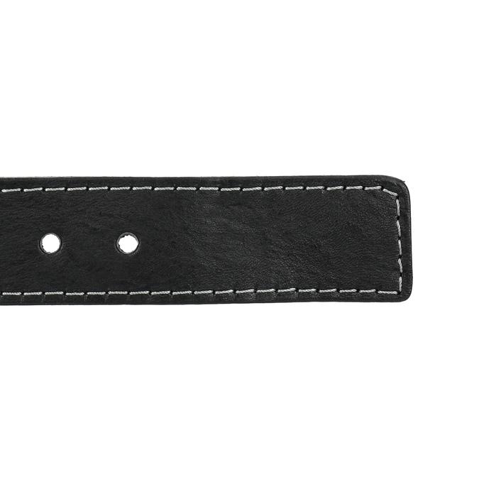 Skórzany pasek z przeszyciami bata, czarny, 954-6147 - 16