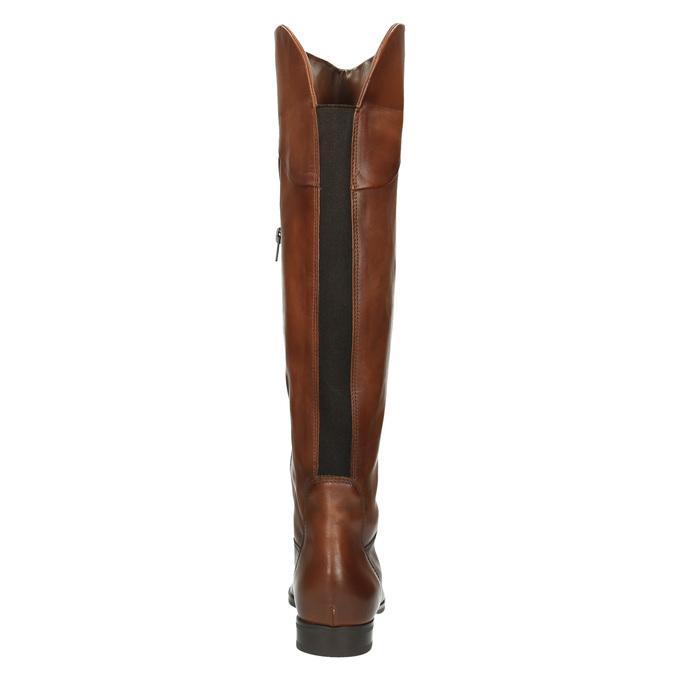 Brązowe skórzane kozaki do kolan bata, brązowy, 594-4605 - 17