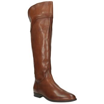 Brązowe skórzane kozaki do kolan bata, brązowy, 594-4605 - 13