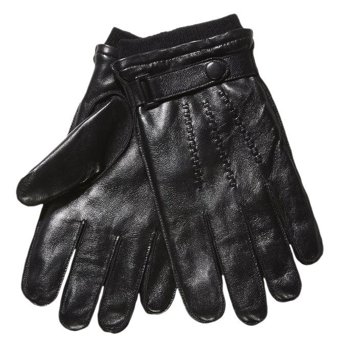 Męskie skórzane rękawiczki ze ściągaczem bata, czarny, 904-6118 - 13