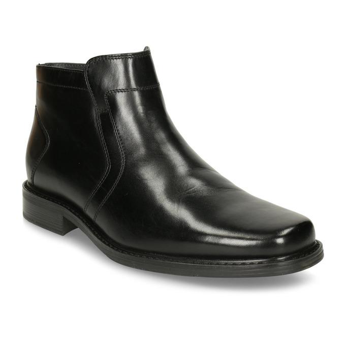 Skórzane ocieplane buty za kostkę bata, czarny, 894-6641 - 13