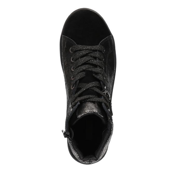 Skórzane buty sportowe do kostki ze srebrnymi refleksami bata, czarny, 596-6613 - 19