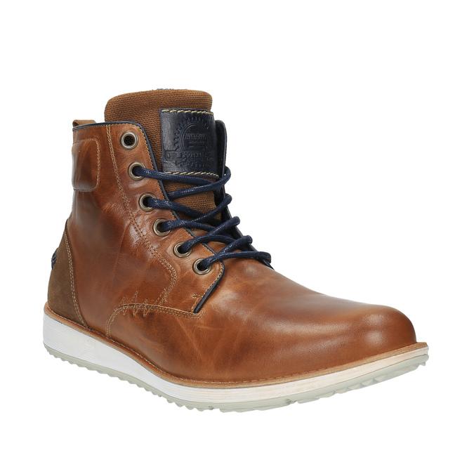 Skórzane buty za kostkę, zpodeszwą wnieformalnym stylu bata, brązowy, 894-3660 - 13
