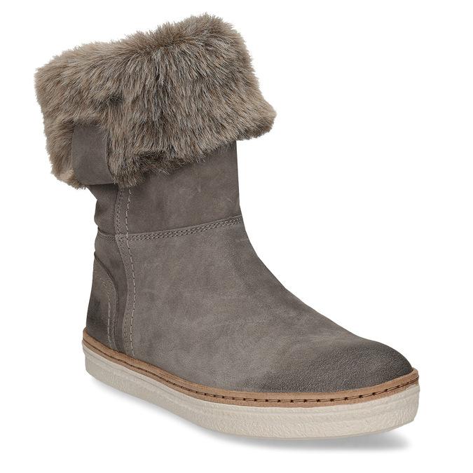 Skórzane buty z futerkiem weinbrenner, szary, 596-2633 - 13