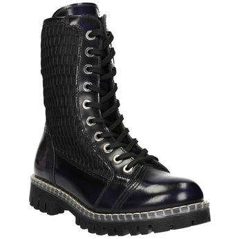 Skórzane sznurowane buty na wyrazistej podeszwie weinbrenner, czarny, 596-9635 - 13