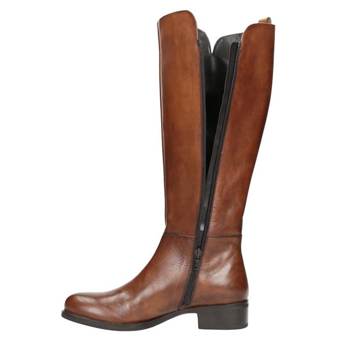 Damskie skórzane kozaki bata, brązowy, 594-3586 - 19