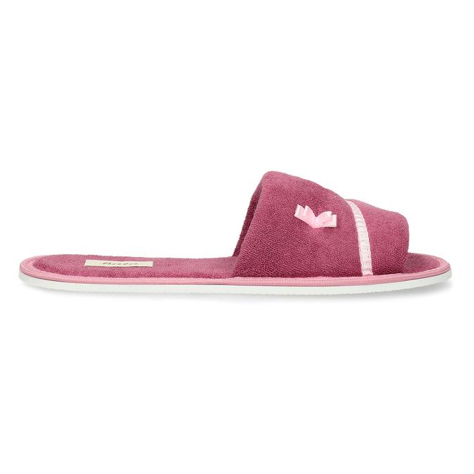 Kapcie damskie zkokardką bata, różowy, 579-5609 - 19